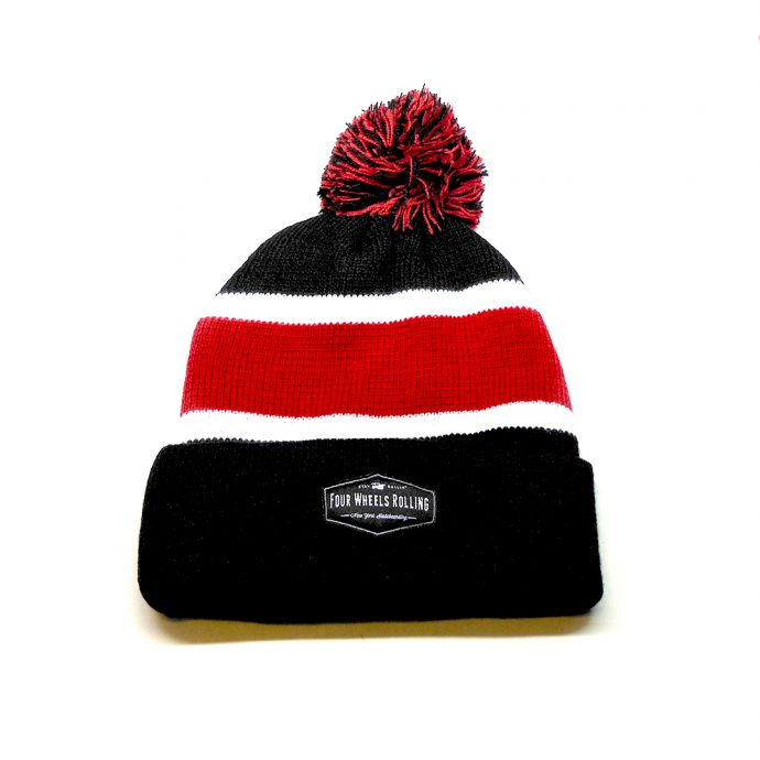 Stay Rollin' Pom Beanie – Black/ Burgundy