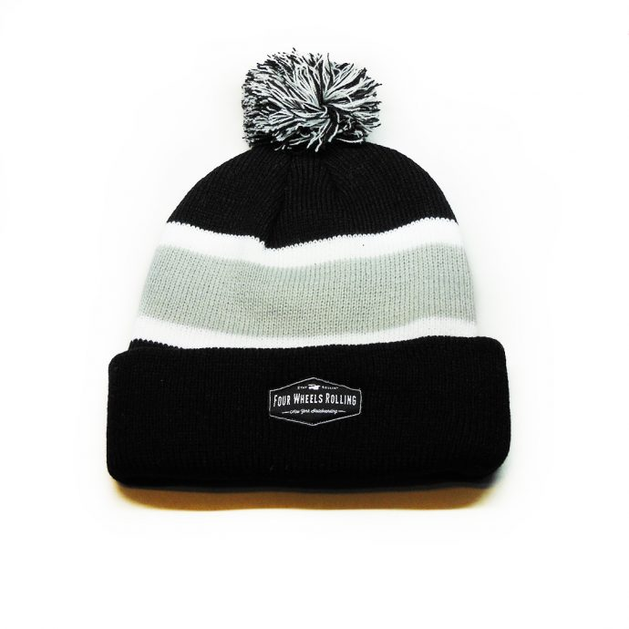 Stay Rollin' Pom Beanie – Black/ Gray