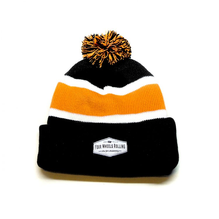 Stay Rollin' Pom Beanie – Black/ Orange