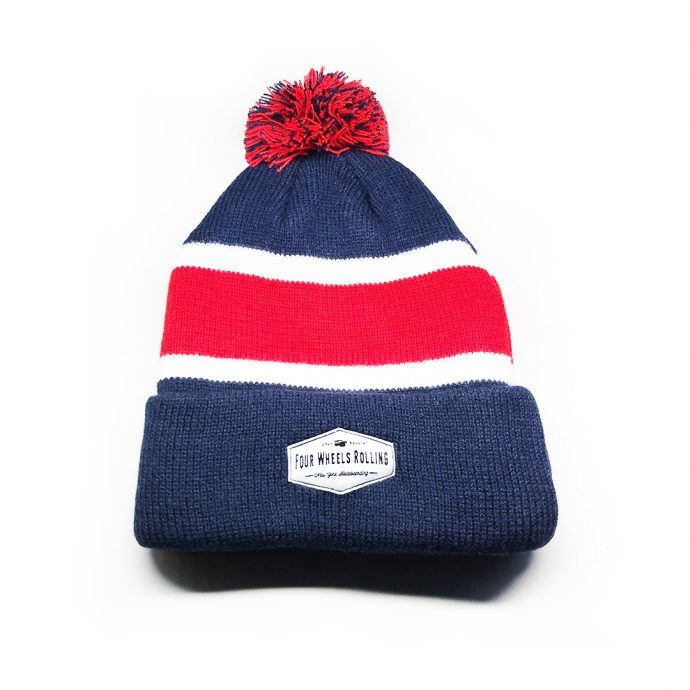 Stay Rollin' Pom Beanie – Blue/ Red