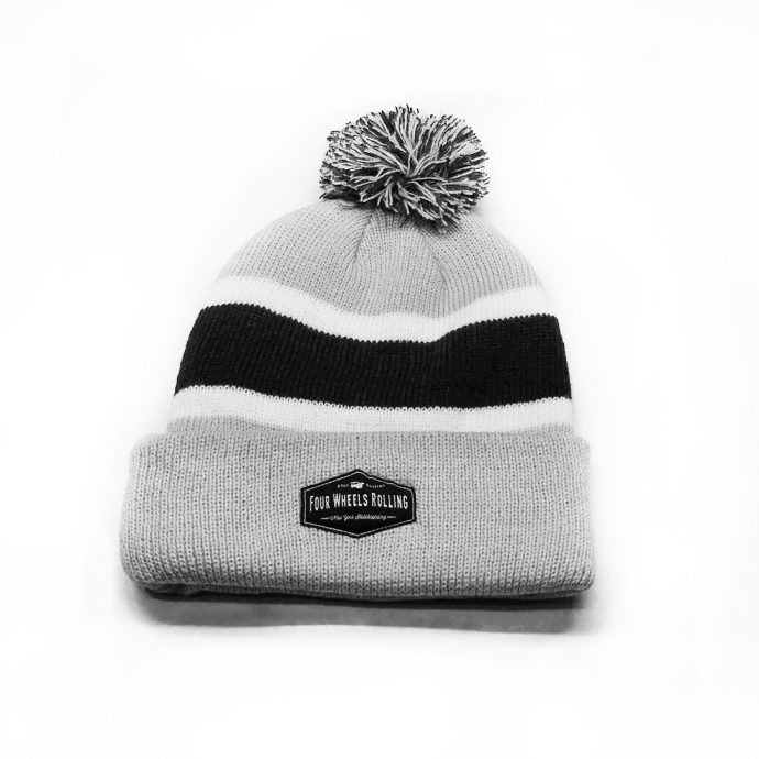 Stay Rollin' Pom Beanie – Gray/ Navy